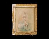 Antique EXQUISITE Art Nouveau MIRROR//Boudoir Triptych Dressing Table/Wall Mirror/MYTHICAL Women/Sea Creatures/Brass/Gilt Stucco/So Romantic