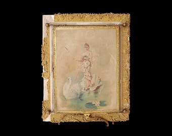 Antique French Art Nouveau Mirror, Trifold Dressing Table Vanity Boudoir Mirror, Edwardian Fairytale Swan Water Maidens, Romantic Home Decor