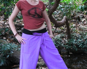 New Fisherman pants, Cotton Pants in Purple, 2 pockets, handmade