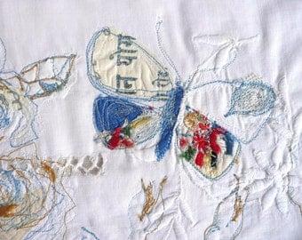 Embroidered illustration - fine art embroidery - original fibre art - vintage butterfly embroidery - original textile art