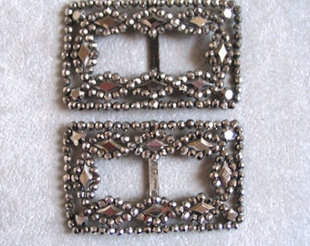 Victorian Steel Cut Shoe Buckles, One Pair, Made In France