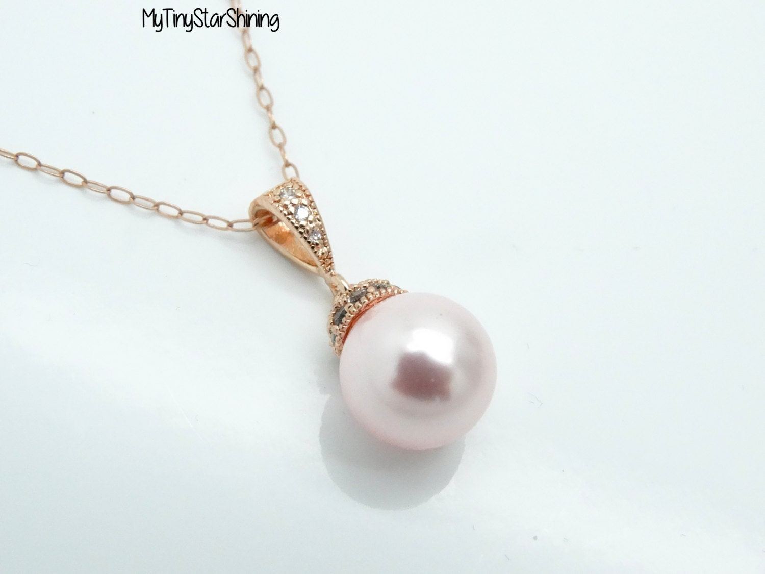 Pink Pearl Necklace Rose Gold Pearl Necklace 14k Rose Gold