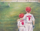 Baseball Personalized sports art print - add Names, Numbers, Colors, Ponytail for girls, wall art for kids