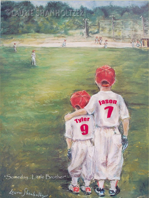 Baseball Personalized sports art print add Names Jersey Numbers team Colors Ponytail  'Someday...Little Brother' Laurie Shanholtzer