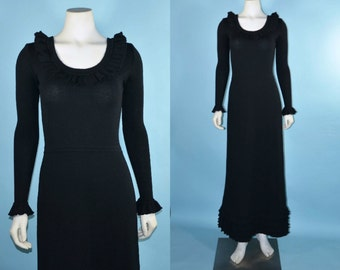 Vintage 70s Black Wool Long Sleeve Maxi Dress/ Bohemian Ruffle Neckline + Hem Day to Evening Sweater Dress/ Fitted Knit Hostess Gown  S