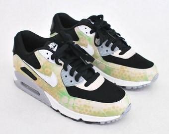 Custom Camo Nike Air Max 90 Running Shoes - Hand Painted Nike AM90 - Custom Sneakers