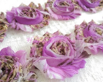 1 YaRd., Purple Country Rose Shabby Flower Trim,  Wholesale Flowers, DIY, Shabby Chic, Newborn HeadbandsChiffon Rosettes, Boutique Flowers