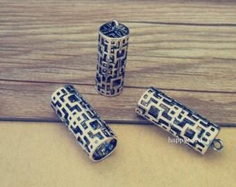 2pcs antique silver Hollow out ( copper )  cylinder pendant 10mmx28mm