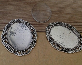 8pcs 30mmx40mm Antique silver Oval Pendant tray Base with glass