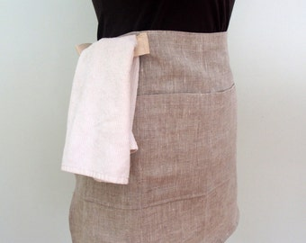 Gray Linen Half Apron, Server Apron, Bistro Apron, Waitress Apron with Pockets and Towel Loop