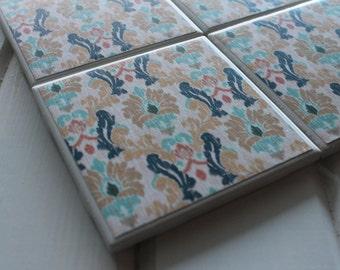 Tribal Design Coasters Four Piece Ceramic Tile Set
