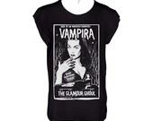 Vampira  vintage horror cover book black tshirt  tshirt loose fit,scoop neck and cropped hems (laser cut)