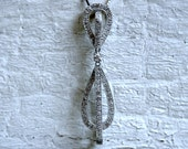Vintage 14K White Gold Pave Diamond Pendant - 0.70ct.