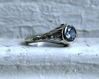 Vintage 14K White Gold Diamond and Ceylon Sapphire Engagement Ring - 1.41ct.
