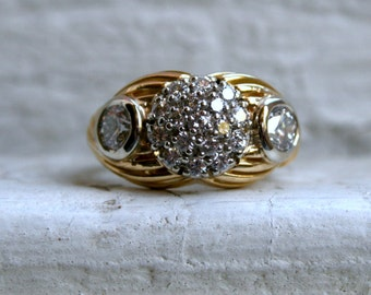 Vintage Art Deco 18K Yellow Gold Diamond Engagement Ring - 1.51ct.