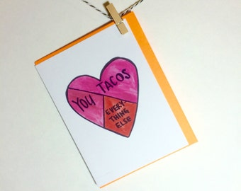 You and Tacos. Love Card. tacos. card for him. card for her. Funny Love Card. Queso. mexican food.