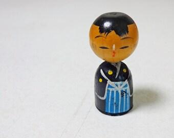 1.8inch 60s Vintage Japanese Miniature Wood KOKESHI Doll