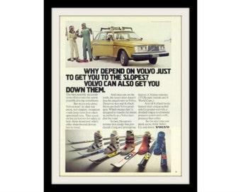 "1978 VOLVO 264 Station Wagon & Ski Car Ad ""Slopes"" Vintage Advertisement Print"