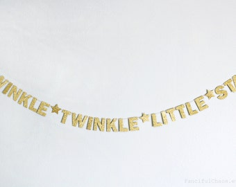 Twinkle Little Star Gold Glitter Paper Banner Garland- Wedding, Birthday, Bridal Shower, Baby Shower, Party Decorations, Nursery Bedroom
