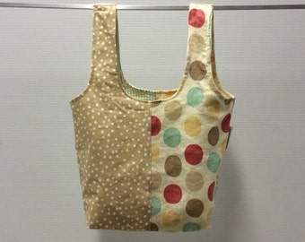 handmade carry-all lunch bag or purse - eco friendly, washable, durable - beige with  dots