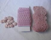 Craft set pink- vintage lace -vintage buttons