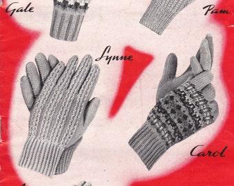 Charm Gloves Knitting Book No 12   Vintage 1950s - Original Pattern