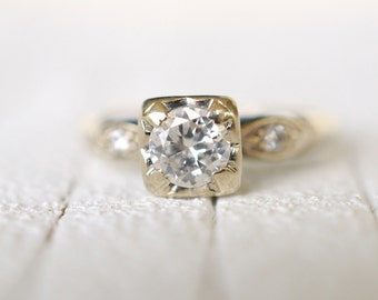 1950's vintage / 14k white gold / 0.56 Carat Diamond engagement wedding ring / Art Deco // MARRY YOU