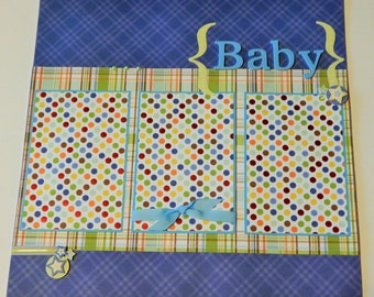 12x12 Premade Scrapbook Layout- Baby Boy