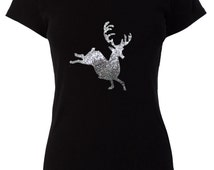Deer Christmas Applique Design Hot Fix Transfer with Sequins For Sew On Glue On