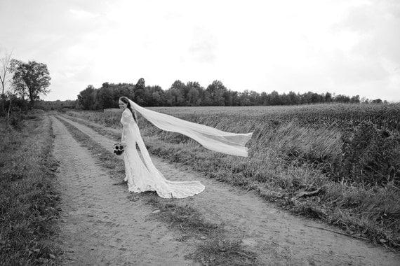 SIMPLE CATHEDRAL Veil, bridal veil, wedding veil, accessories, ivory, blush, white, diamond white color, long veil, floating veil