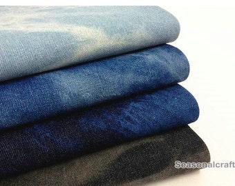 Denim Cotton Fabric, Washed Denim, tie-dye blue denim,diy,Sewing 1/2 yard  (QT417)