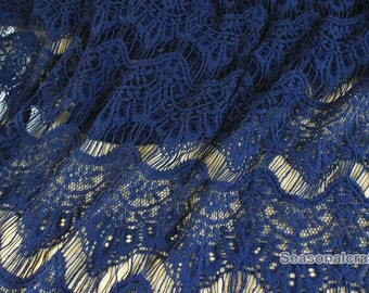 One Yard Lace,Eyelashes,Tassels Lace Fabric, Embroidery,Wedding,Bridal, Navy Blue and Black Color color choice,Polyester Mesh, fabric (W113)