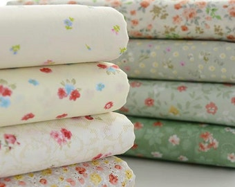 Flower Fabric Green Flower Fabric,Shabby Chic Flower Fabric,Green Floral Cotton Fabric 1/2 Yard (QT439)