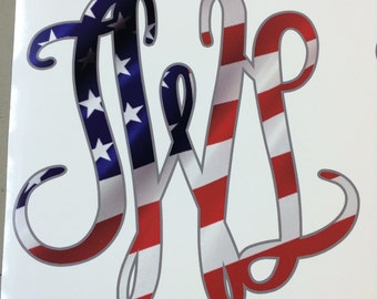 American Flag printed monogram decal ir heat transfer (iron on) You choose your font and size.