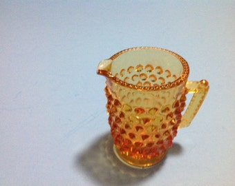 Vintage amber hobnail cream pitcher