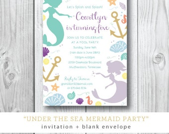 Under the Sea Printed Invitations | Mermaid Pool Birthday Party Invitation | Printed or Printable by Darby Cards