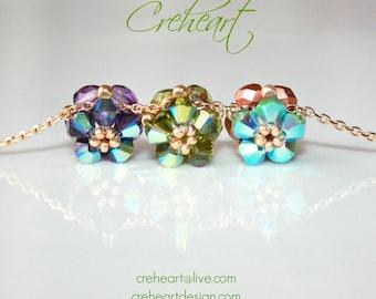 Swarovski Crystal Pendant, Tiny little flowers, Rainbow, Olivine Purple Teal, Gold plated chain, Wedding favor, Bridesmaid, Creheart