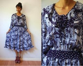 Vtg 70's Diane Freis Jungle Polka Dots White Navy Dress