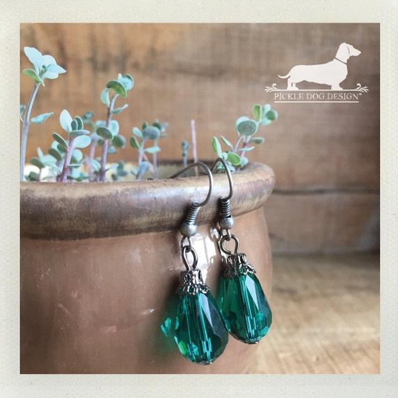 Green Drop. Dangle Earrings