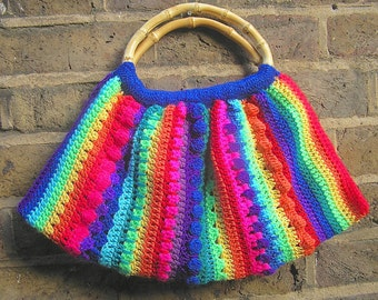 vibrant crocheted bag
