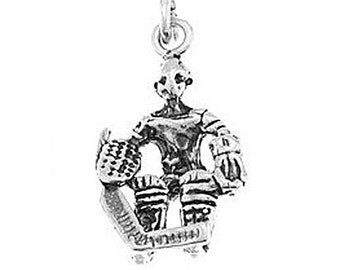 Sterling Silver Hockey Goalie Charm (3d Charm)