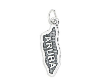 Sterling Silver Travel Island Country Map of Aruba Charm (Flat Charm)