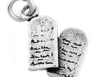 Sterling Silver 10 Commandment Tablets Charm (3d Charm)