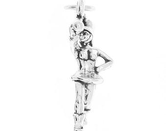 Sterling Silver Band Majorette Charm Pendant (3D Charm)