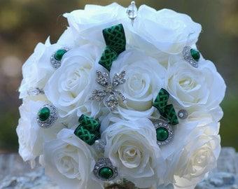 Ivory Silk Rose and Emerald Green Brooch Bridal St. Patricks Irirsh Bouquet