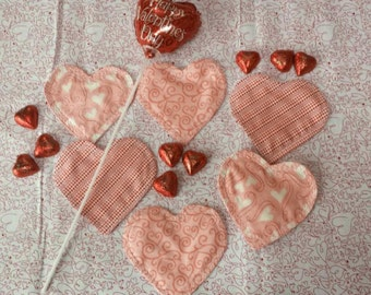 QUILTED COASTERS Valentine's Day, Sweetest Day, Anniversaries, Weddings, Showers, 6 coasters, mini, quilted.
