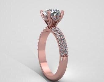 Rose gold diamonds round forever brilliant  moissanite  engagement ring,custom rings, style 22RGDM