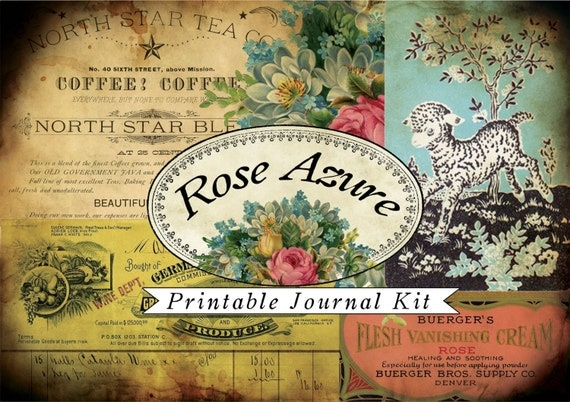 Rose Azure Printable Journal Kit- (20pg) INSTANT DOWNLOAD