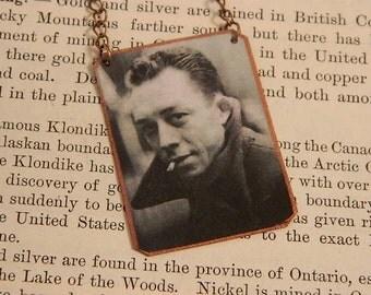 Albert Camus necklace mixed media  jewelry Journalist author absurdism