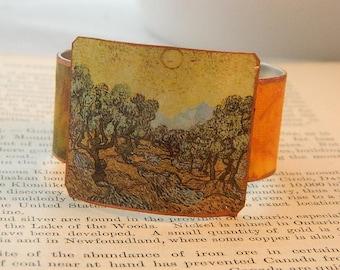 Van Gogh bracelet Olive Trees in Yellow Van Gogh jewelry mixed media jewelry